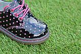Детские демисезонные лаковые ботинки черные р23-28, фото 7