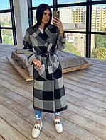 Женское кашемировое пальто  в клетку