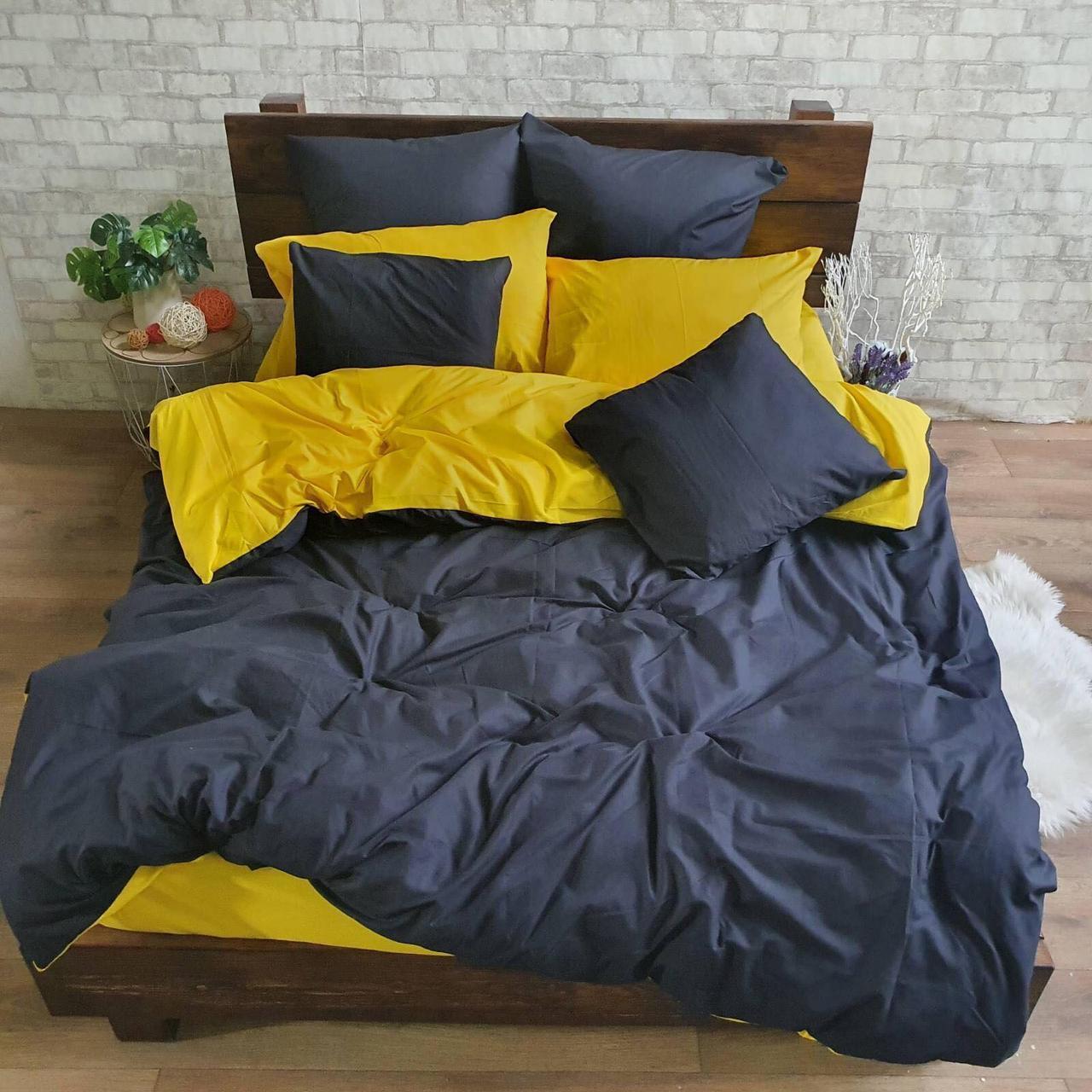 Комплект постельного белья  Бязь GOLD 100% хлопок Серо - желтый