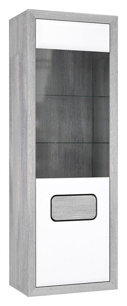 Витрина левая TMSV711L-M151 TOMASSO Forte дуб nordic серый/белый глянец/черный