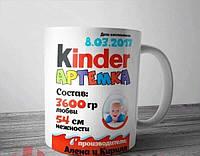 Эксклюзивная именная чашка ребенку Киндер, фото 1
