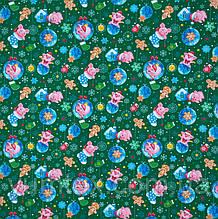 Ткань скатертная рогожка хрюшки новый год фон зеленый 100 хлопок