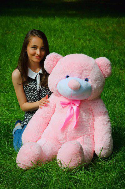 Плюшевий ведмедик Рафаель 120 см Рожевого кольору