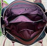 Женская черная сумка со вставкой из натуральной замши 32*29 см, фото 3