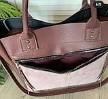 Женская черная сумка со вставкой из натуральной замши 32*29 см, фото 5