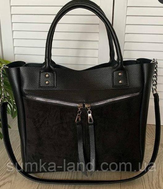 Женская черная сумка со вставкой из натуральной замши 32*29 см