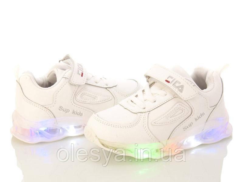 Модные белые кроссовки для девочек с подсветкой подошвы W.Niko BY996-1 размеры 26- 31