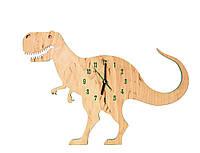 Детские деревянные часы дизайнерские Динозавр Ручная Работа ТМ Просто и Легко 40на28на3 см SKU-12-265762