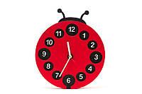 Детские деревянные часы дизайнерские интерьер Божья Коровка HandMade Ручная Работа ТМ Просто и Легко 25на3 см