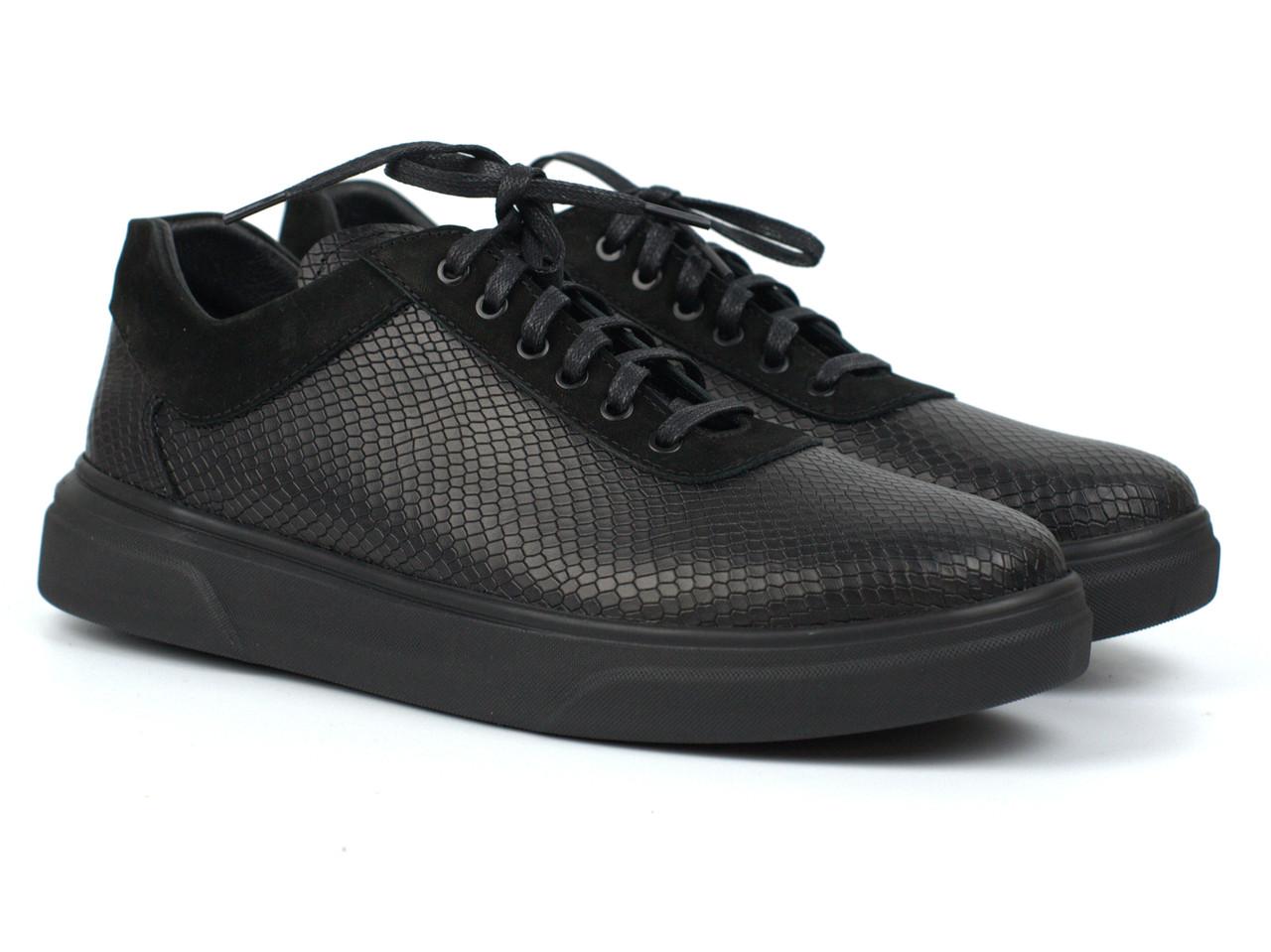 Кроссовки кеды черные кожаные рептилия женская обувь больших размеров Rosso Avangard Mozza Riptile Leather BS