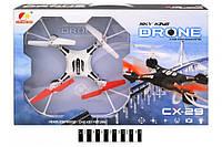 Квадрокоптер дрон на радиоуправлении с гироскопом и светом без камеры Drone Sky King CX-29