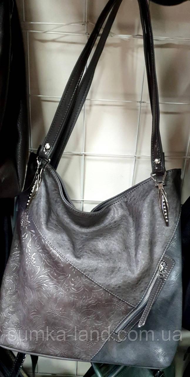 Женская комбинированная сумка Премиум класса из искусственной кожи с лаковой вставкой 33*34 см