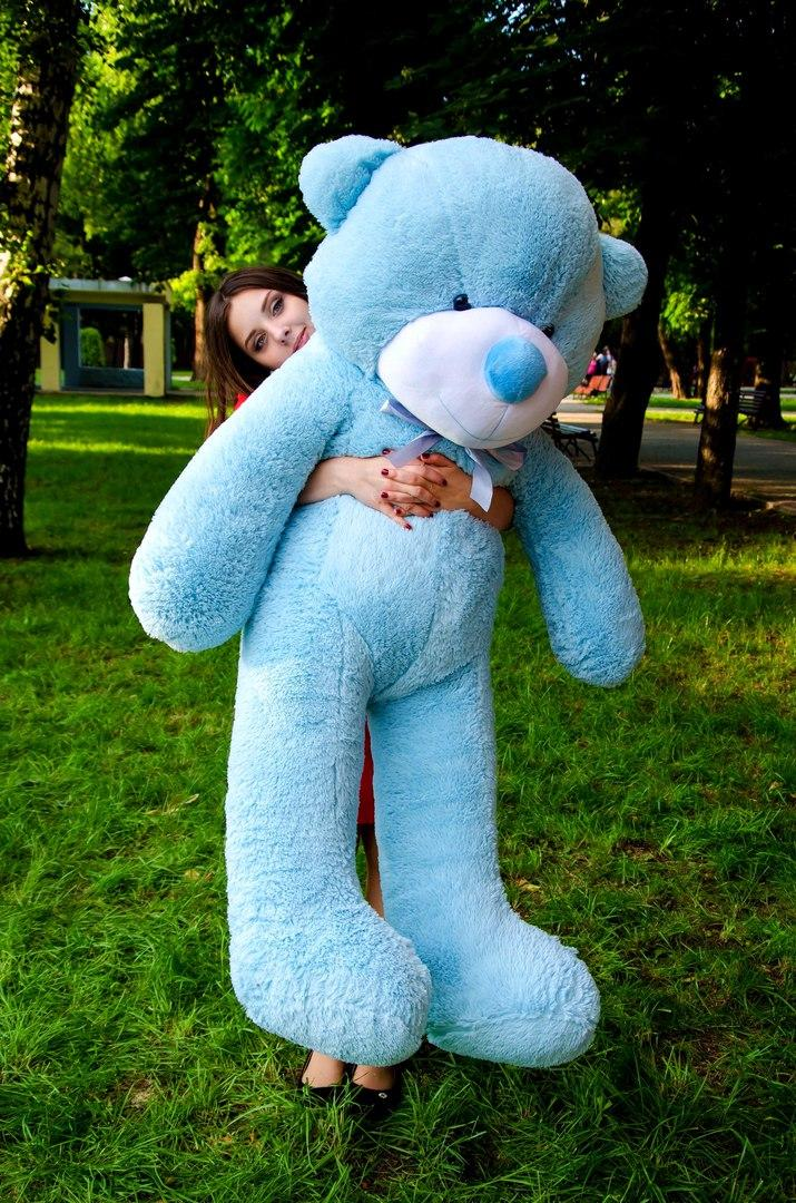 Плюшевий ведмедик Рафаель 160 см Блакитного кольору