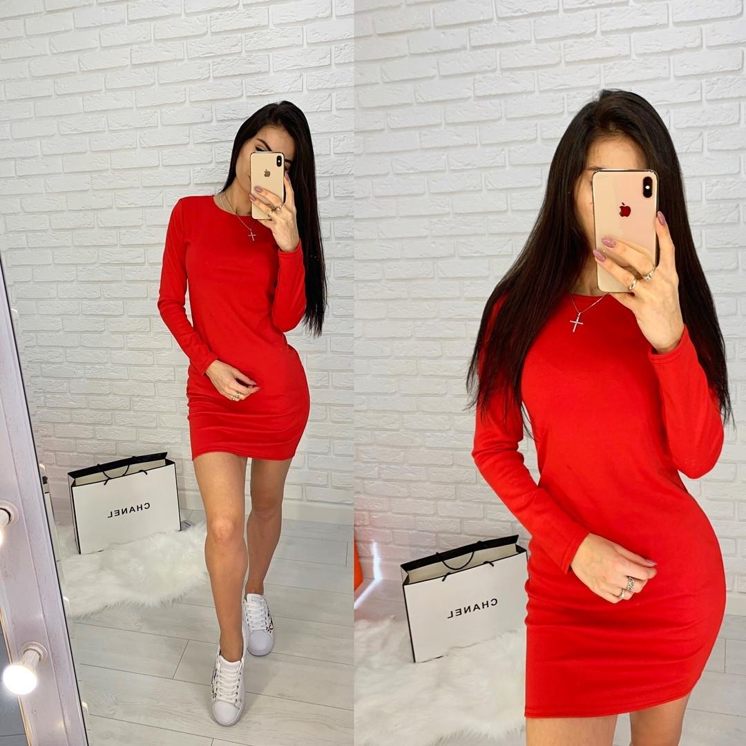 Женское короткое трикотажное платье с длинными рукавами, облегающее, 8 цветов. 40, 42, 44 ,46 - фото 4