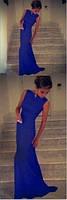 Женское вечернее платье в пол со шлейфом, без рукавов, обтягивающее. Синее. Размер 42-44-46