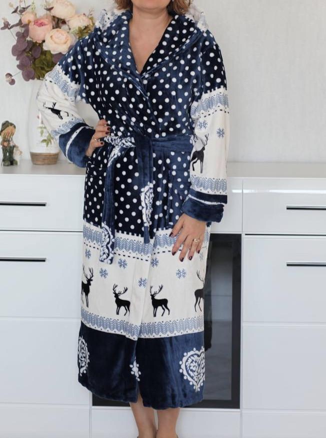 Махровый халат для женщин с принтом Короткий размер С