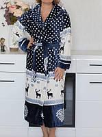 Махровый халат для женщин с принтом Короткий размер С, фото 1