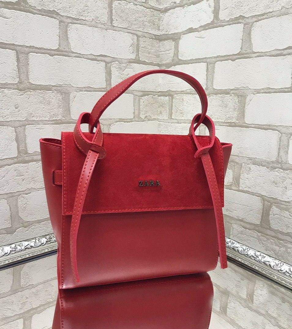 Сумка красная женская модная городская молодежная шоппер на плечо замша+экокожа