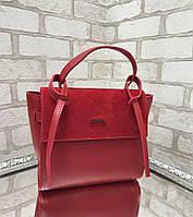 Сумка красная женская модная городская молодежная шоппер на плечо замша+экокожа, фото 1