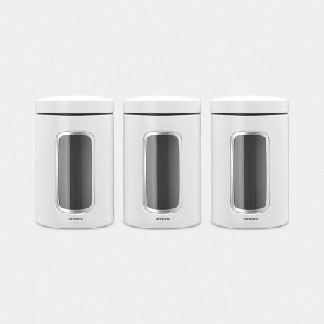 Набор емкостей для сыпучих продуктов с окном Brabantia Белые, 3 шт х  1,4 л (306068)