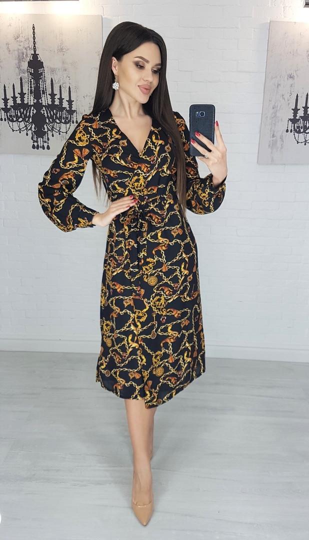 Легкое женское летнее платье на запах, по колено, с длинными рукавами. Цепи на черном. 40-42, 44-46