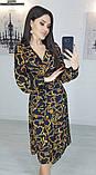 Легкое женское летнее платье на запах, по колено, с длинными рукавами. Цепи на черном. 40-42, 44-46, фото 2