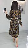 Легкое женское летнее платье на запах, по колено, с длинными рукавами. Цепи на черном. 40-42, 44-46, фото 3