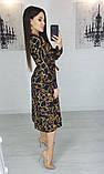 Легкое женское летнее платье на запах, по колено, с длинными рукавами. Цепи на черном. 40-42, 44-46, фото 4