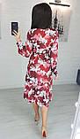 Легкое женское летнее платье на запах, по колено, с длинными рукавами. Магнолия на бордовом. 48-50, фото 2