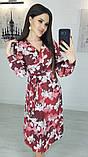 Легкое женское летнее платье на запах, по колено, с длинными рукавами. Магнолия на бордовом. 48-50, фото 3