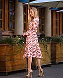 Легкое женское летнее платье на запах, по колено, с длинными рукавами. Красные листья на белом 48-50, фото 2