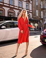 Легкое женское летнее платье на запах, по колено, с длинными рукавами. Красное в мелкий горошек. 40-42, 44-46