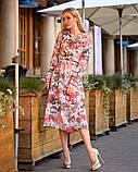 Легкое женское летнее платье на запах, по колено, с длинными рукавами. Цветы на оранжевом. 40-42, 44-46, фото 2