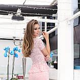 Женская нарядная кофточка, блуза из гипюра с короткими рукавами и баской. Размер 40,42,44,46. Персик(розовая), фото 2
