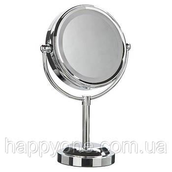 Двойное зеркало для макияжа с LED подсветкой (5-x увеличение)