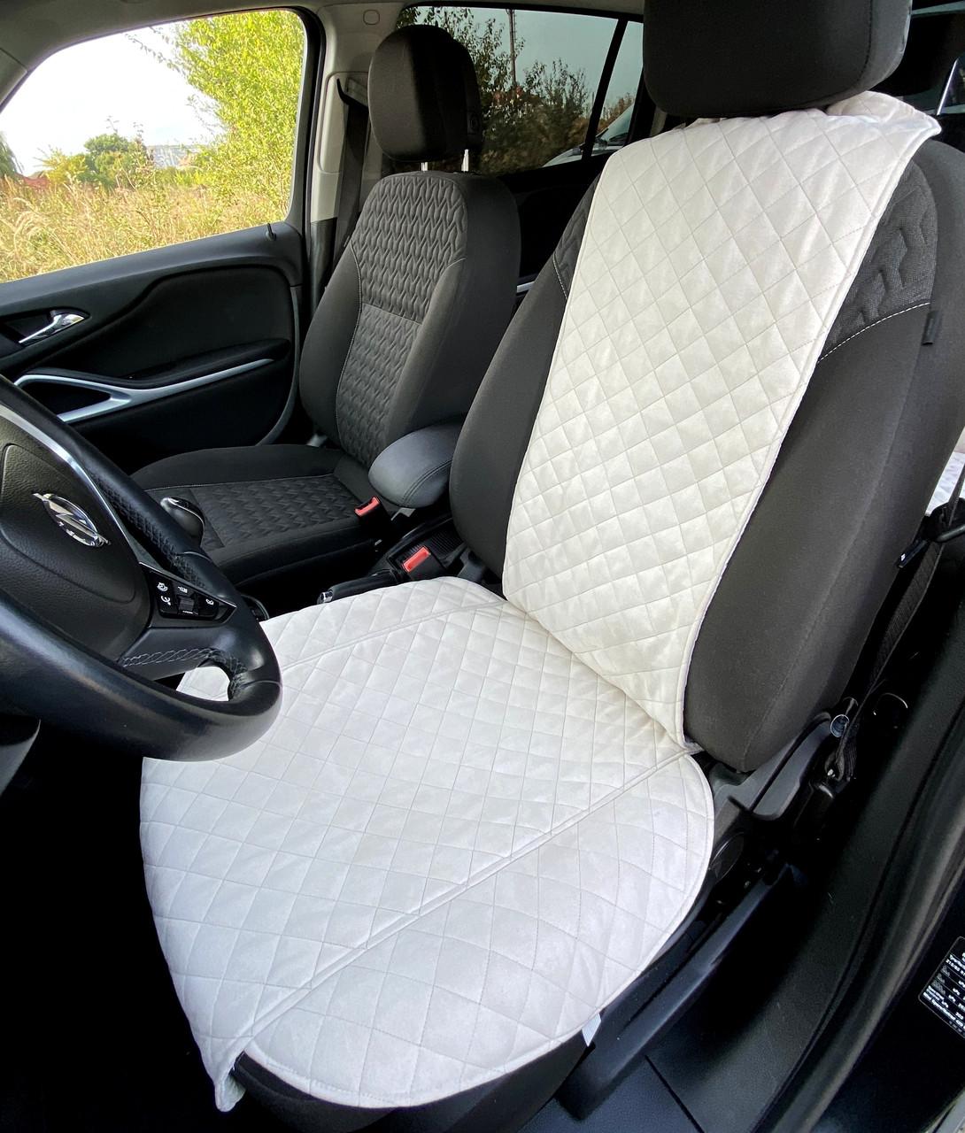 Накидка чехол на сидения автомобиля из Алькантары Эко-замша один универсальный защитный авточехол Айвори 1 шт