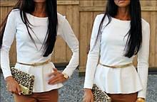 Трикотажна святкова жіноча блузка з баскою і довгими рукавами. 9 кольорів