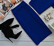 Женская обтягивающая юбка карандаш миди из фактурного трикотажа, 5 цветов. Размеры 40, 42, 44 ,46. 40, Синий