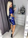 Нарядное женское платье с двухсторонней пайеткой чешуя, 2 цвета (40-42, 44-46). Синий-серебро, фото 5