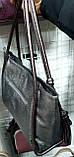 Женская синяя блестящая сумка Премиум класса с серыми ручками 36*26 см, фото 2