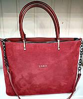 Женская бордовая сумка Zara из натуральной замши с ремешком на цепочке 32*24 см, фото 1