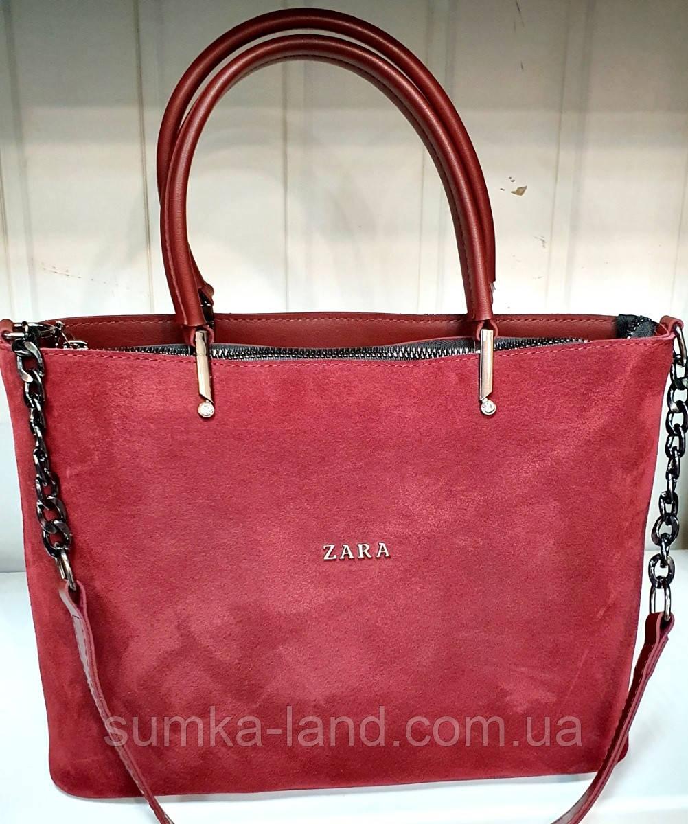 Женская бордовая сумка Zara из натуральной замши с ремешком на цепочке 32*24 см