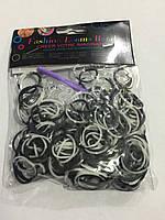 Резинки для плетения браслетов черные и белые 200шт