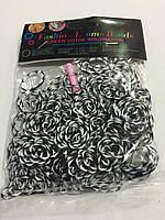 Гумки для плетіння браслетів чорно-білі 200шт