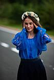 Лляна синя вишиванка в стилі Бохо - дуже сучасна і ніжна, фото 4