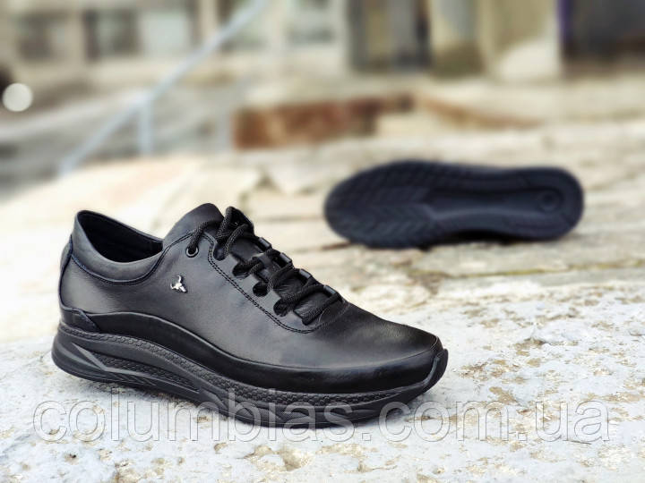 Мужские кроссовки Yak Black  4243 чёрные, натуральная кожа