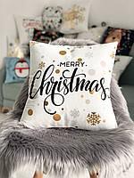 Декоративна новорічна подушка з велюру з золотистими сніжинками