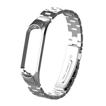 Pемешок для фитнес-браслета Mi Band 3 и 4 Bead design, Silver