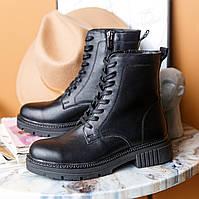 Ботинки женские кожаные черные осень/зима (натуральная итальянская кожа)