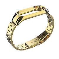 Pемешок для фитнес-браслета Mi Band 3 и 4, Steel bracelet with large link, Gold, фото 3